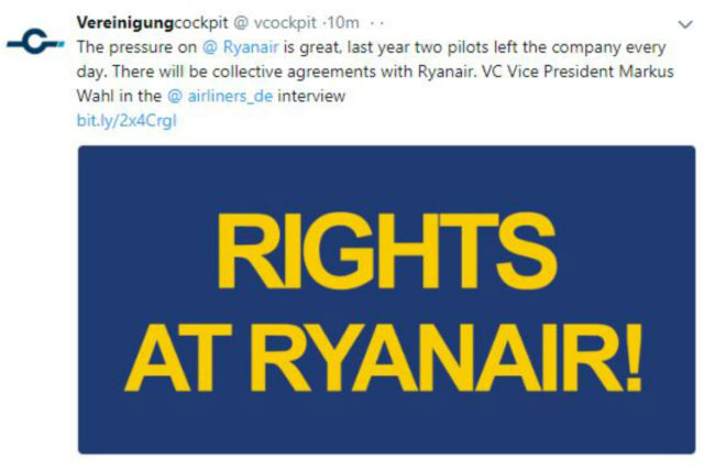 Ryanair Twitter screengrab