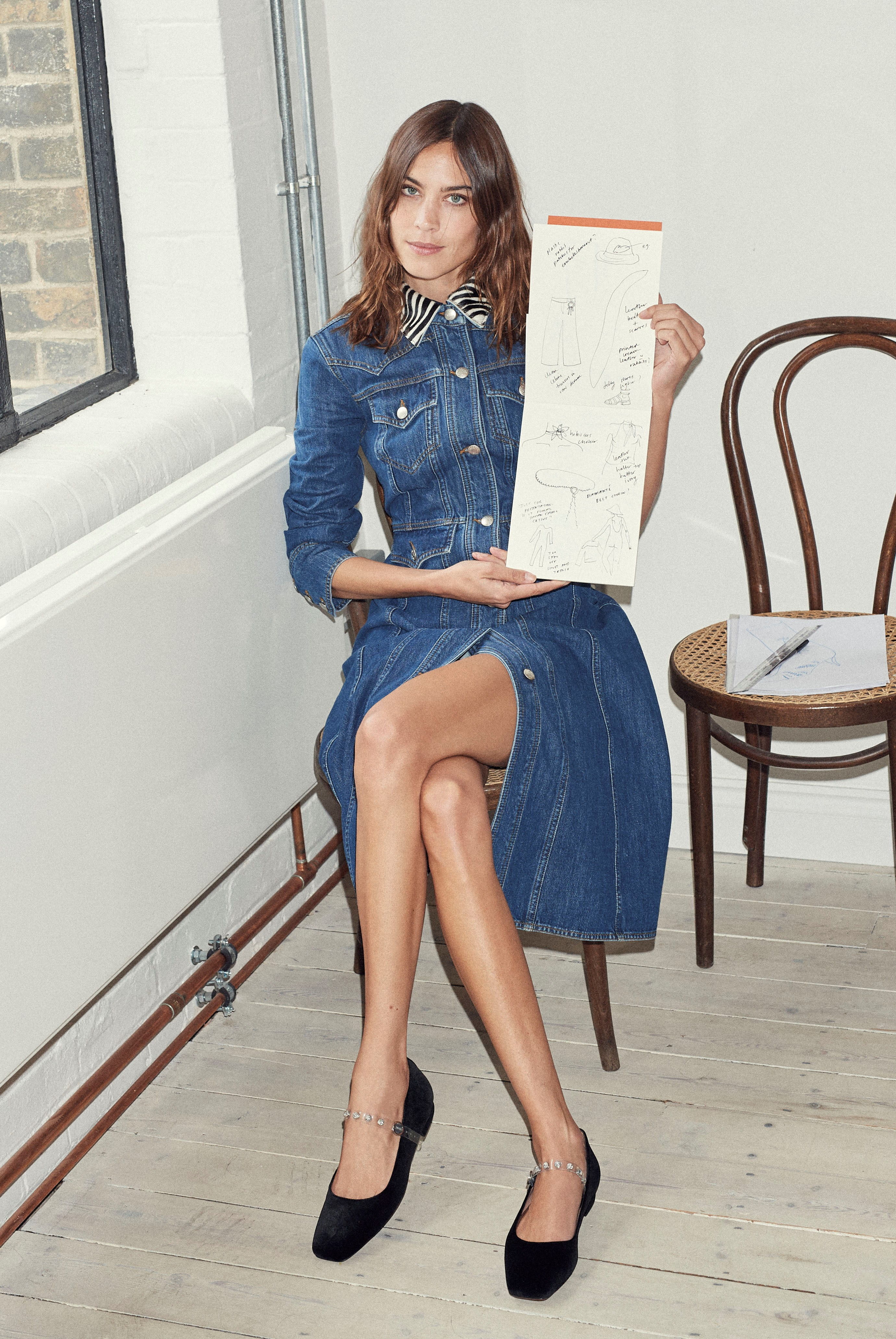 Alexa Chung with her designs