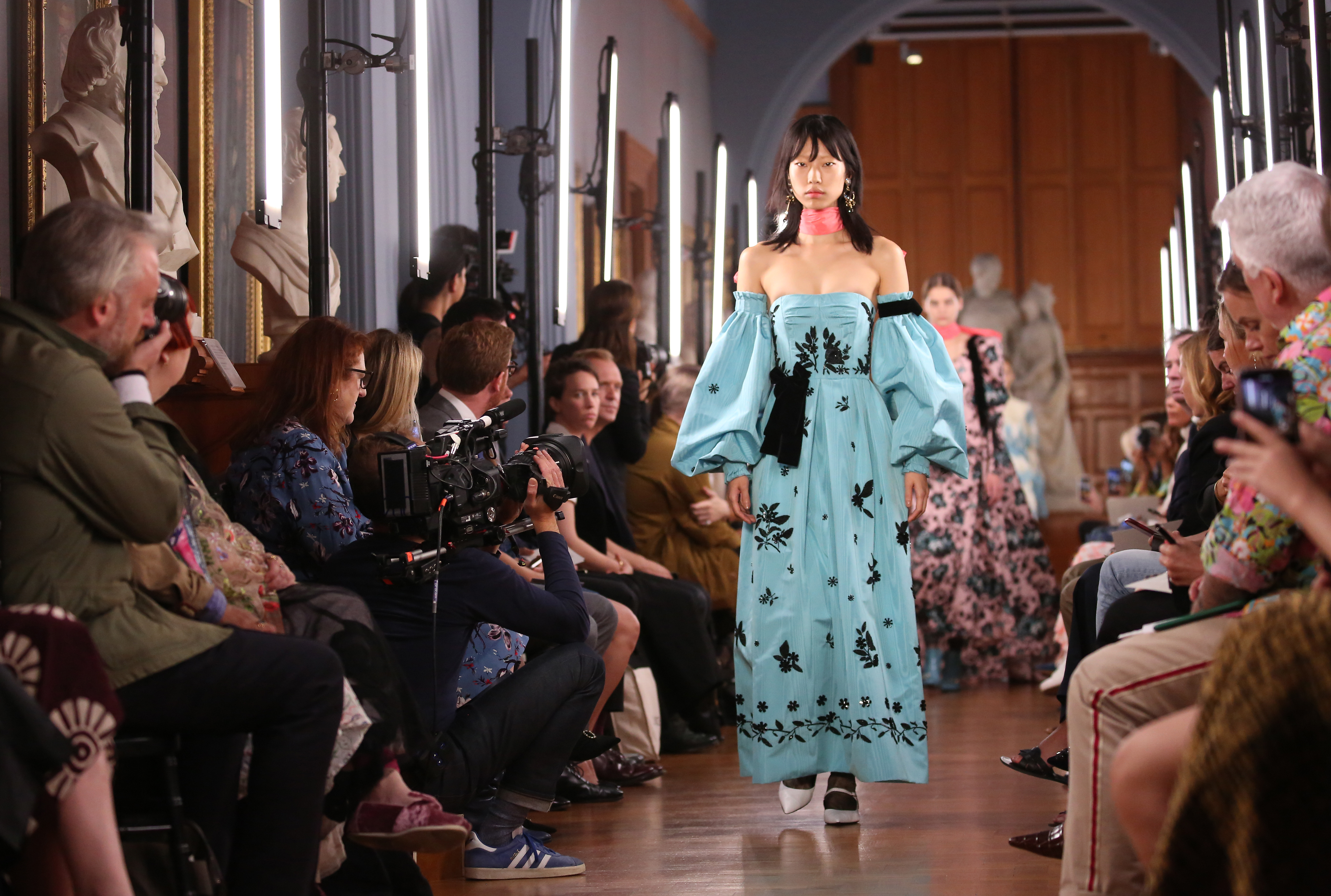 Models on the catwalk during the Erdem London Fashion Week September 2018 show at The National Portrait Gallery in London