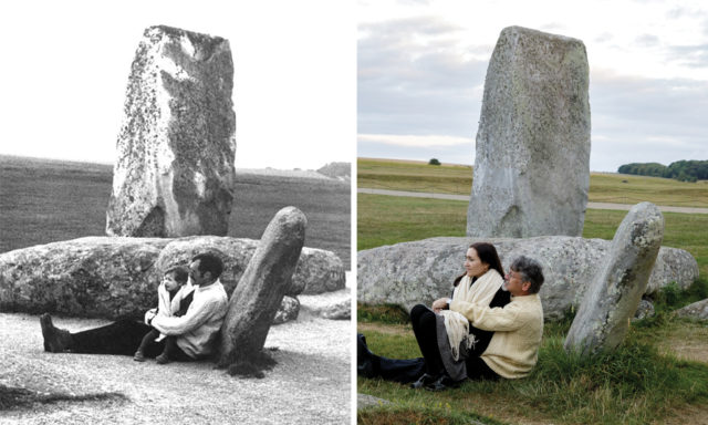 American Taney Roniger first posed with her father by the stones in 1971, and now poses with her husband (Roniger/English Heritage/PA)