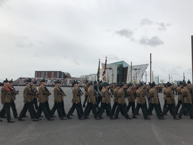 Royal Irish Regiment receive their new colours at Titanic Slipways in Belfast