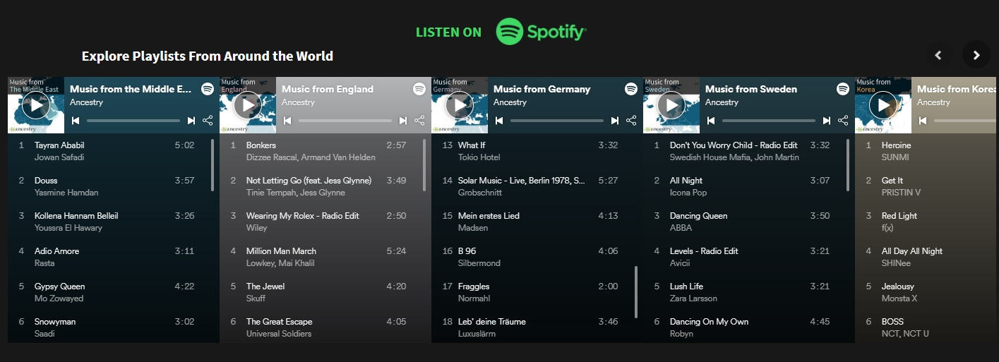 Spotify teams up with Ancestry to create playlists based on