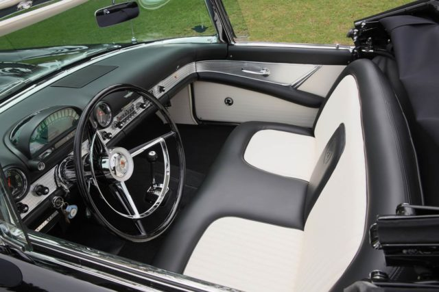 The interior of a black Ford Thunderbird formerly owned by actress Marilyn Monroe.