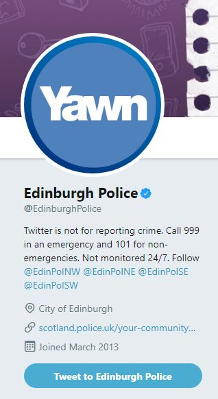Yawn profile picture on Edinburgh Police account