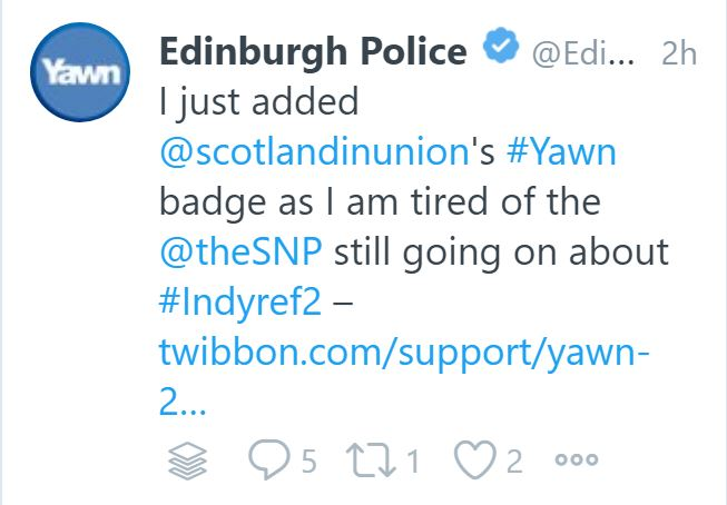 Anti-SNP tweet from Edinburgh Police account
