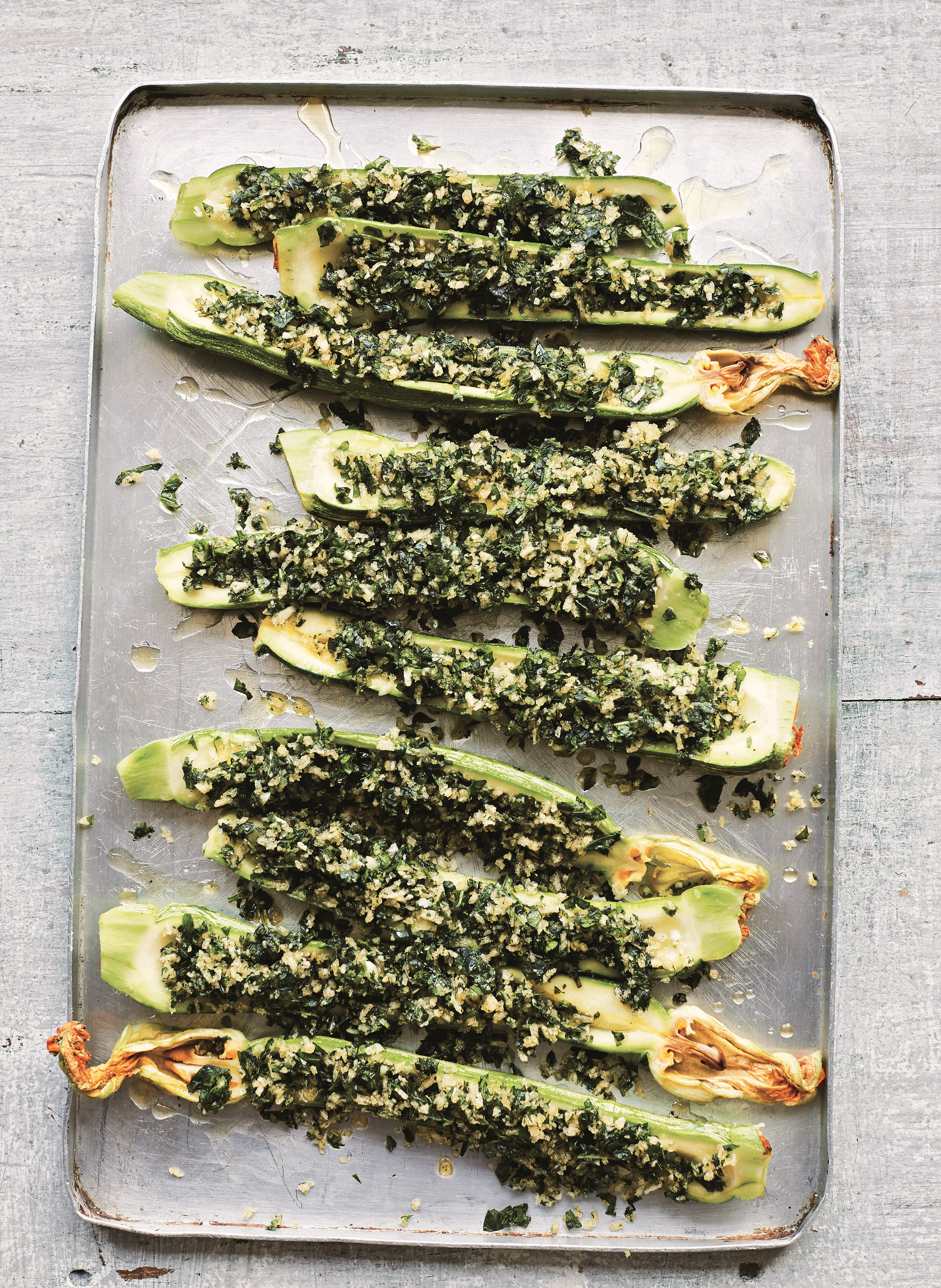baked courgettes with mint and garlic from Vegetables all'Italiana by Anna Del Conte (Pavilion Books/Laura Edwards/PA)