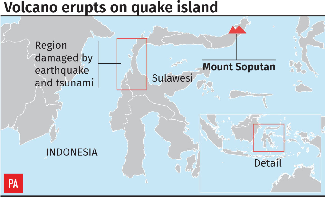 A graphic showing the location of the volcano