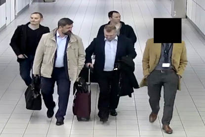 The four Russian intelligence officers at Schiphol Airport. (Picture: Dutch Defence Ministry)