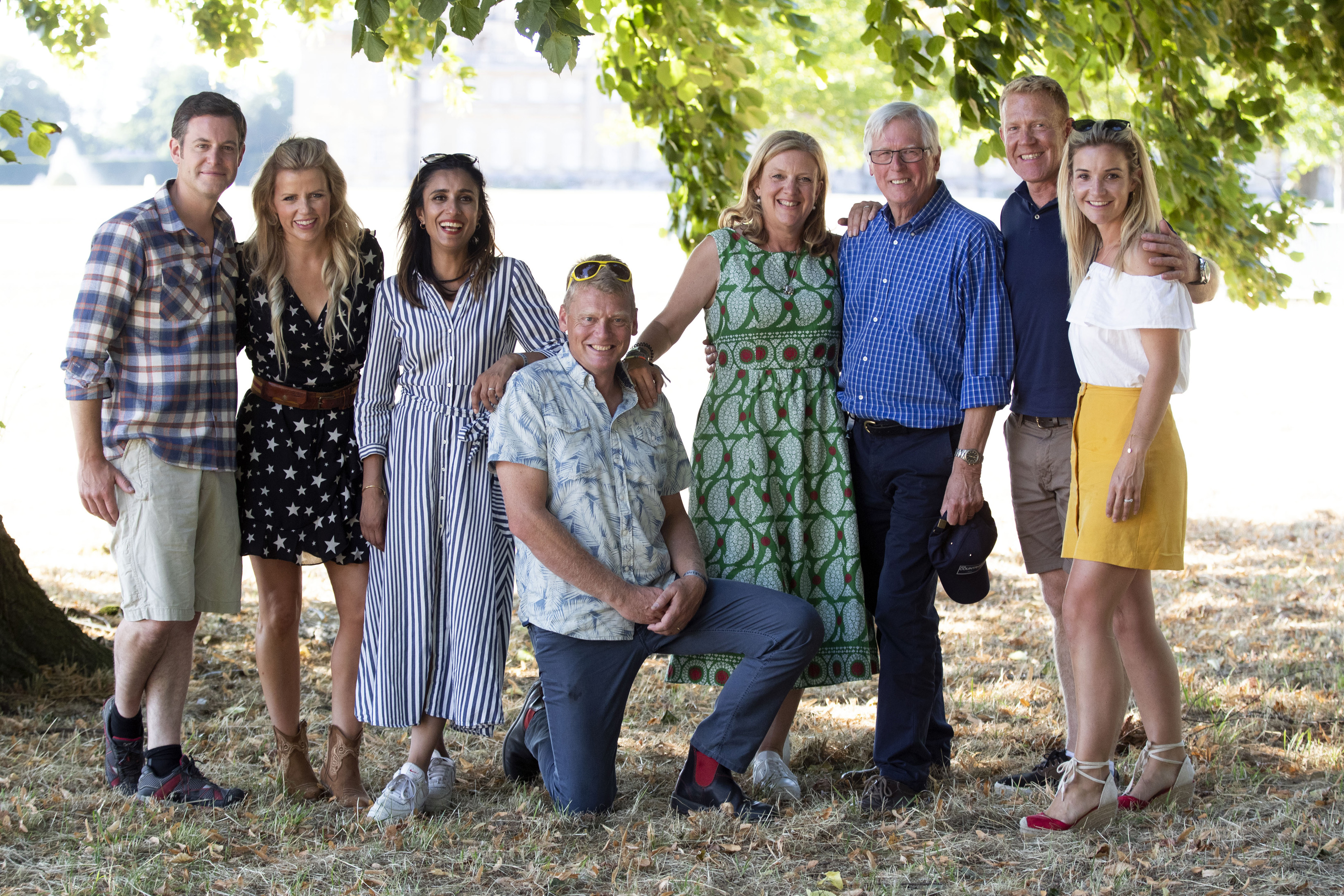 Helen Skelton (far right) with the Countryfile presenters (left to right) Matt Baker, Ellie Harrison, Anita Rani, Tom Heap, Charlotte Smith, John Craven, Adam Henson, at Blenheim Palace, near Woodstock, Oxfordshire, August 2018. (Steve Parsons/PA)