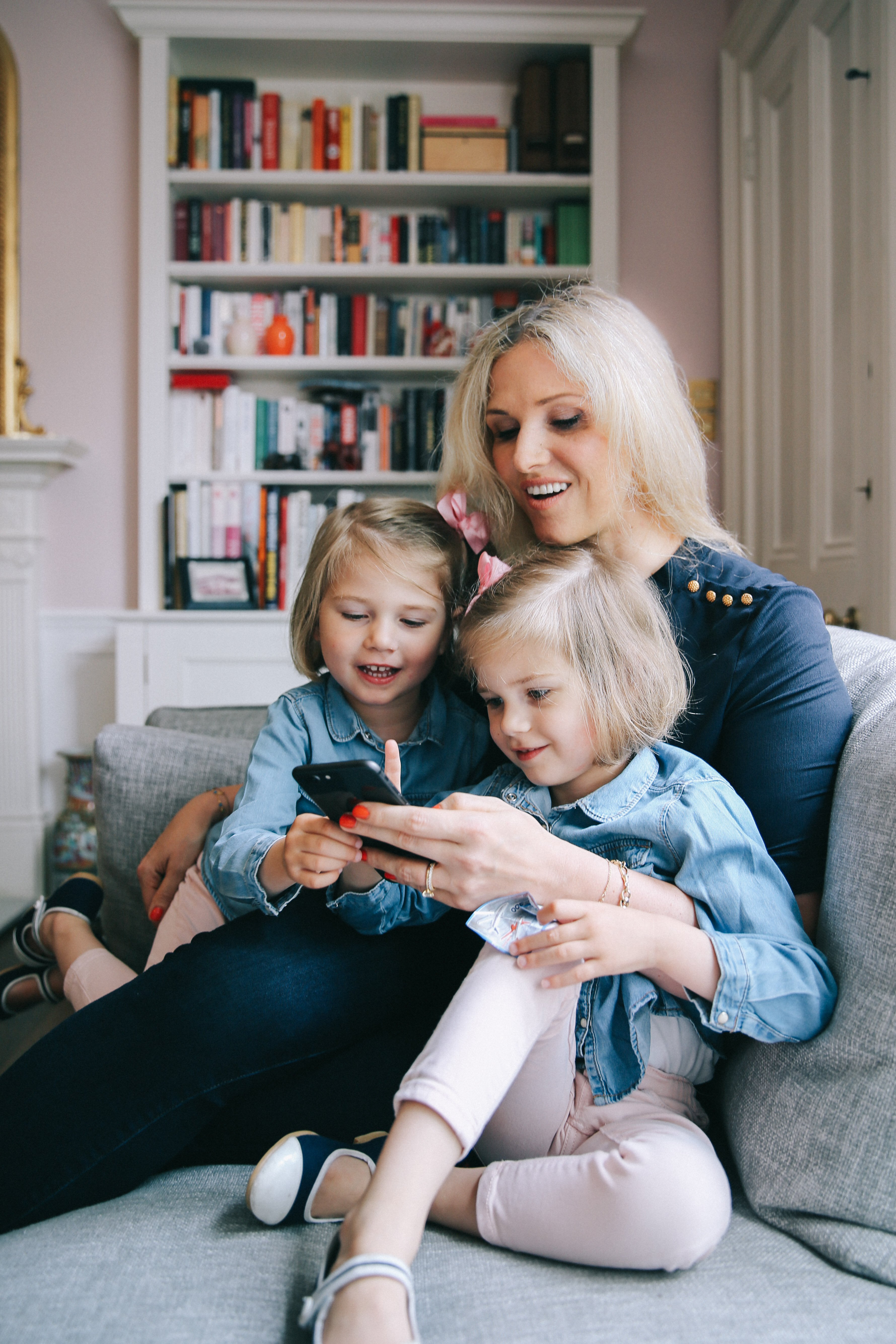 Julia Brucher and her twin daughters