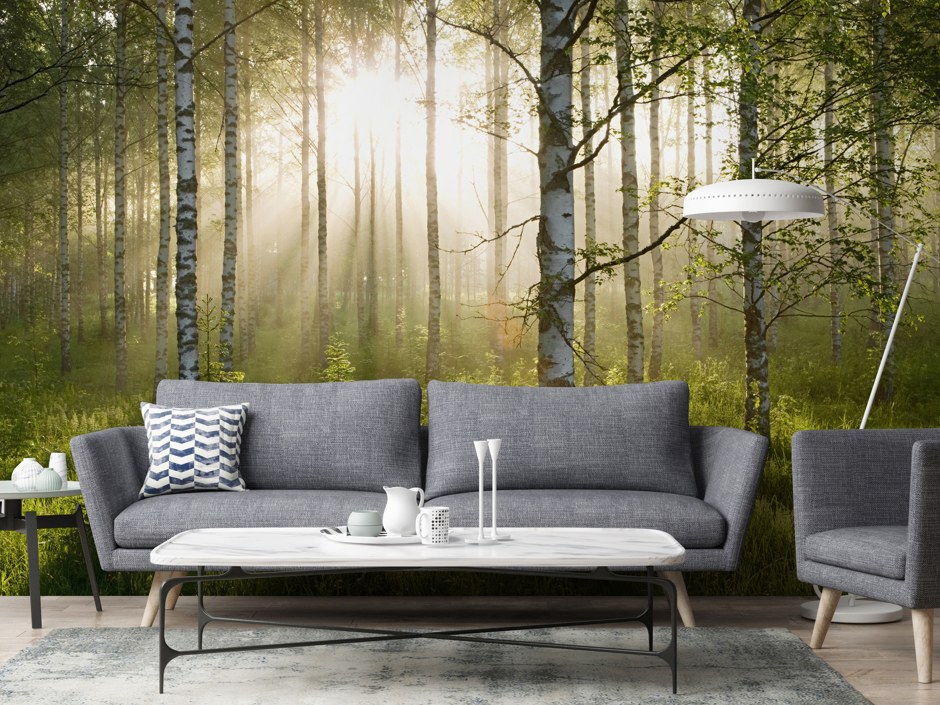 Birch Forest Sunlight Wallmural, from £30 per square metre, Wallsauce (Wallsauce/PA)