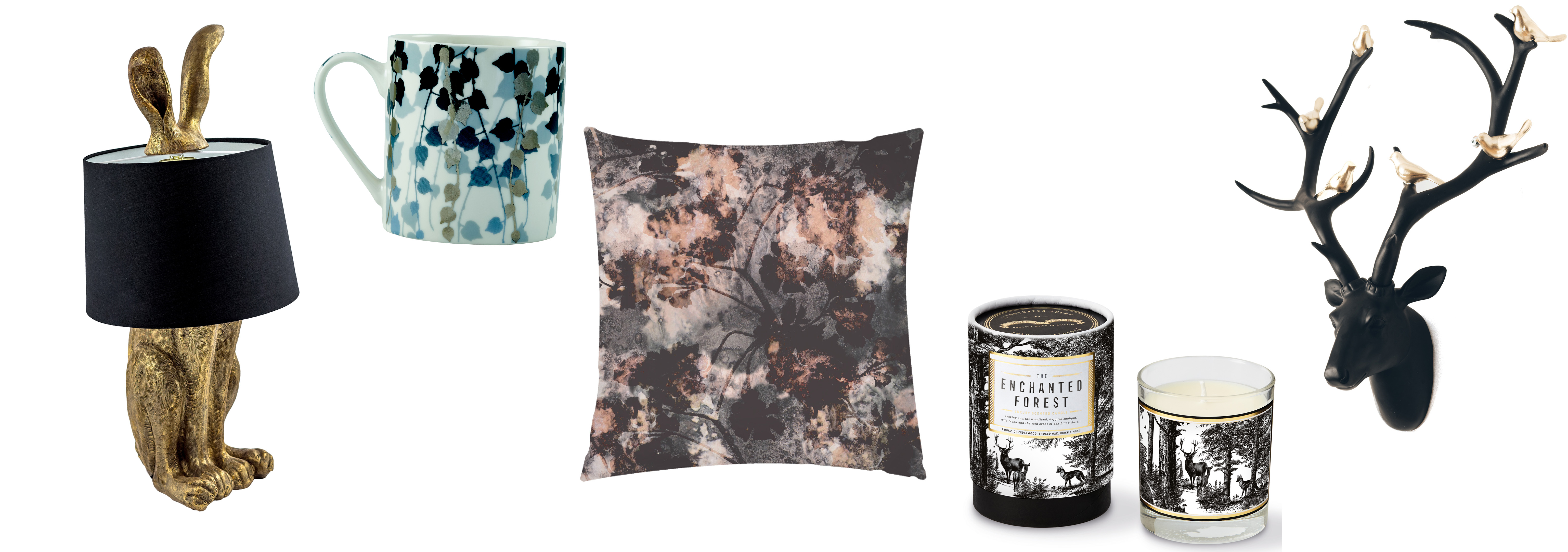 (L-R) Hare Lamp With Black Shade, £139.95, Audenza; Boston Ivy Mug, Midnight Blue, £12, Clarissa Hulse; Inky Floral by Eleanor Soper, £30, ArtWow; The Enchanted Forest Candle, £32, Chase & Wonder; Hurn & Hurn Discoveries Deer Head With Gold Birds Wall Decoration, Black, £108, Hurn & Hurn (Audenza/Clarissa Hulse; Art Wow; Chase & Wonder; Hurn & Hurn/PA)