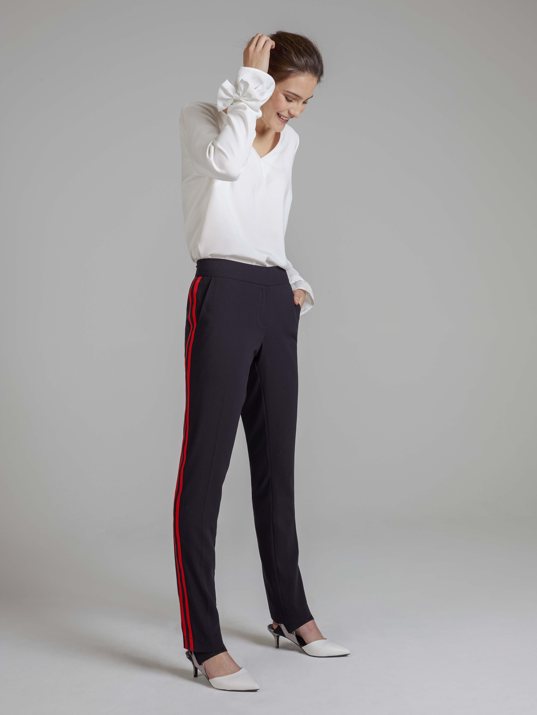 Long Tall Sally Bow Sleeve Blouse, Side Stripe Crepe Trousers and LTS Rebecca Kitten Heel Slingback