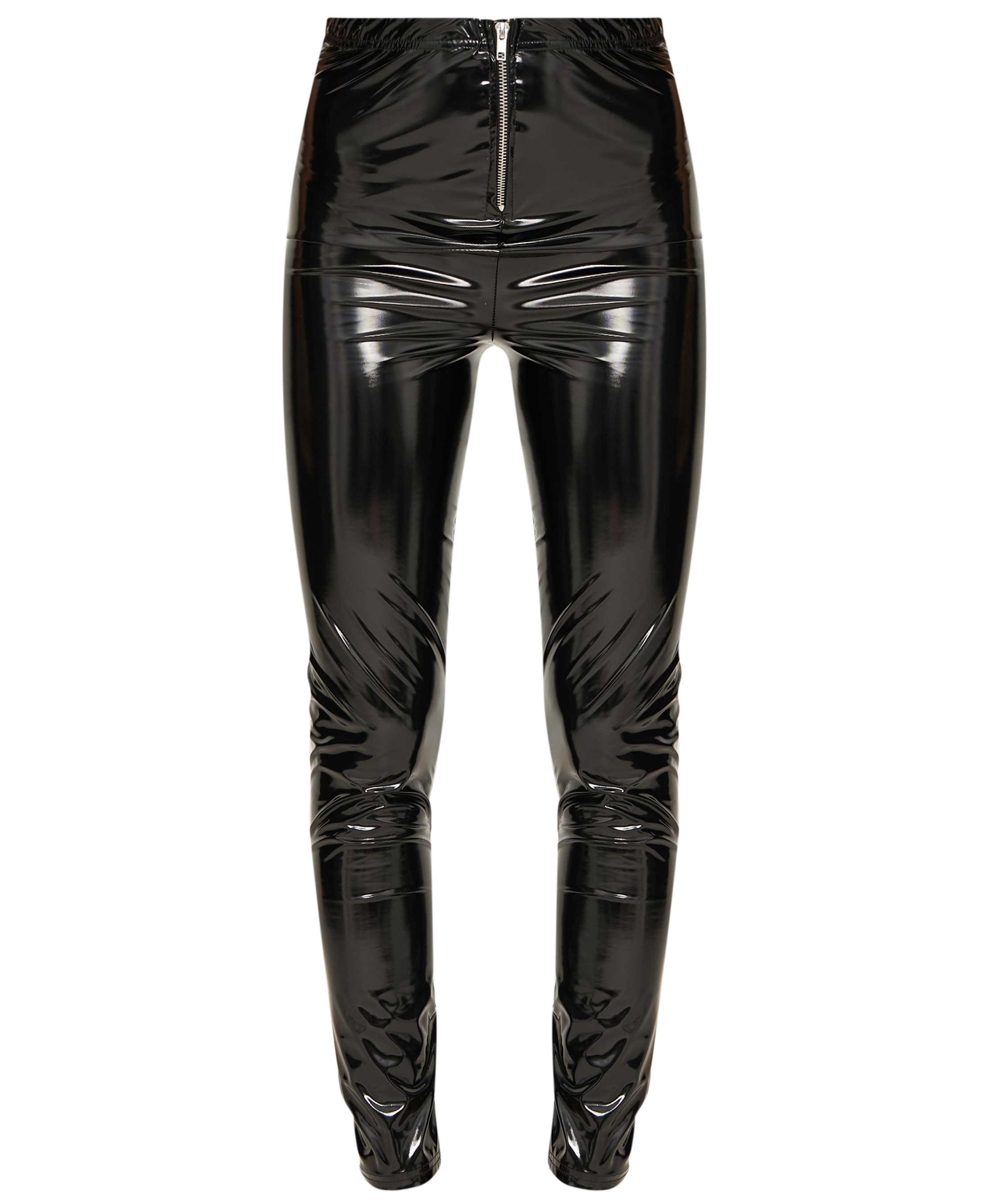 PrettyLittleThing Black Vinyl Zip Front Skinny Trousers