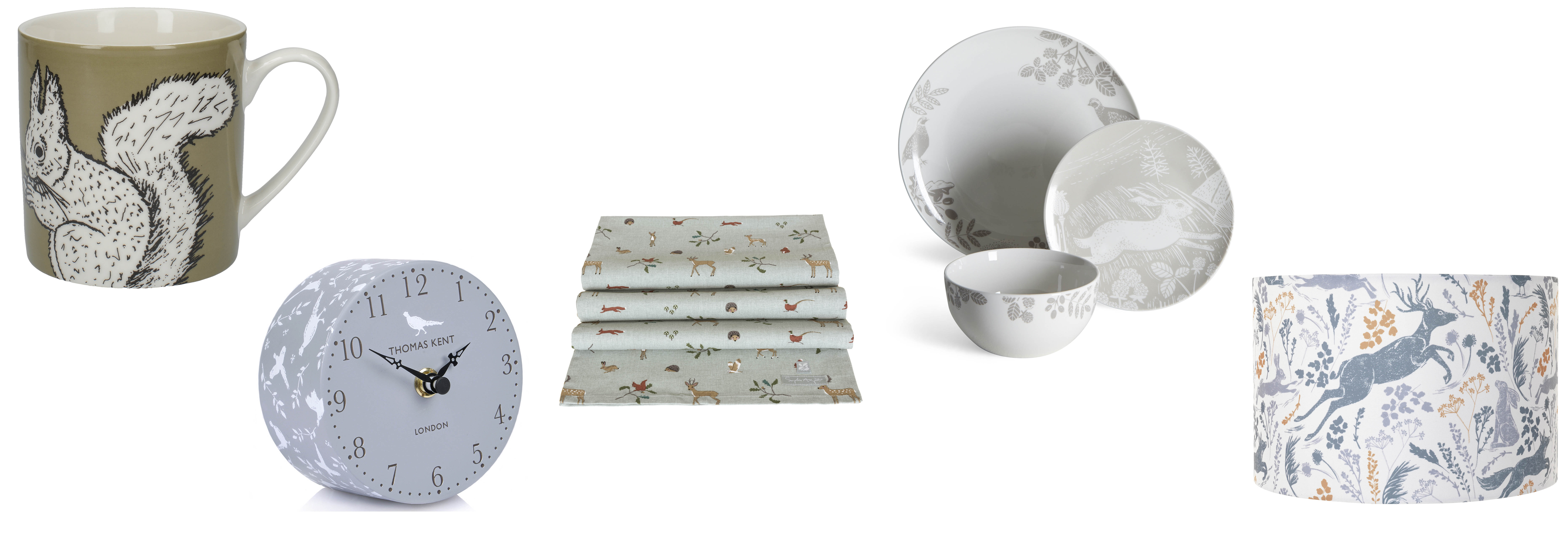 (L-R) Into The Wild Squirrel Mug, £6, visit Creative Tops for stockists; Thomas Kent Clocks, Portobello Pheasant Mantel Clock, £24, Hurn & Hurn; Woodland Table Runner, £22, Sophie Allport; Woodland 12-Piece Taupe Dinner Set, £31, Dunelm; Sainsbury's Home Rural Retreat Animal Printed Shade, £12 (Creative Tops/Hurn & Hurn/Sophie Allport; Dunelm/Sainsbury's Home/PA)