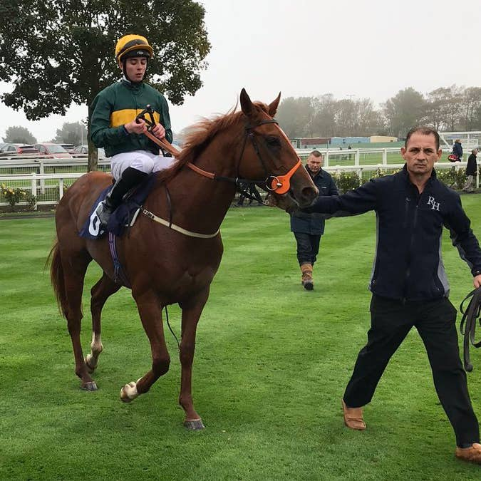 Rossa Ryan celebrates a notable winner with Ginger Fox at Yarmouth