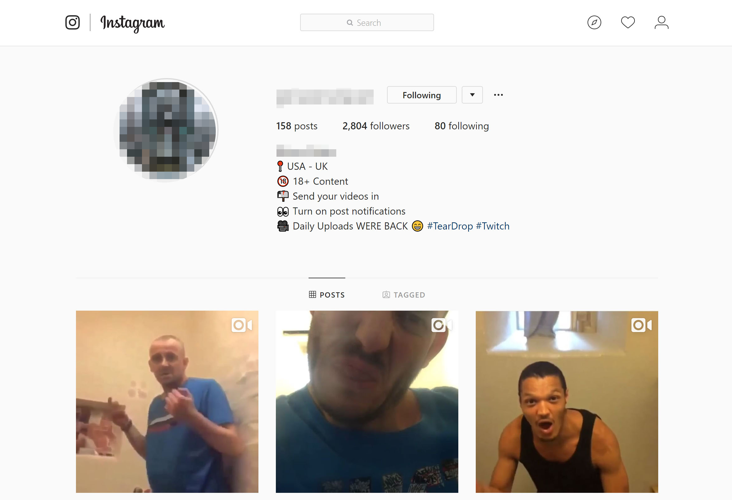 An Instagram account shows prisoner in British jails