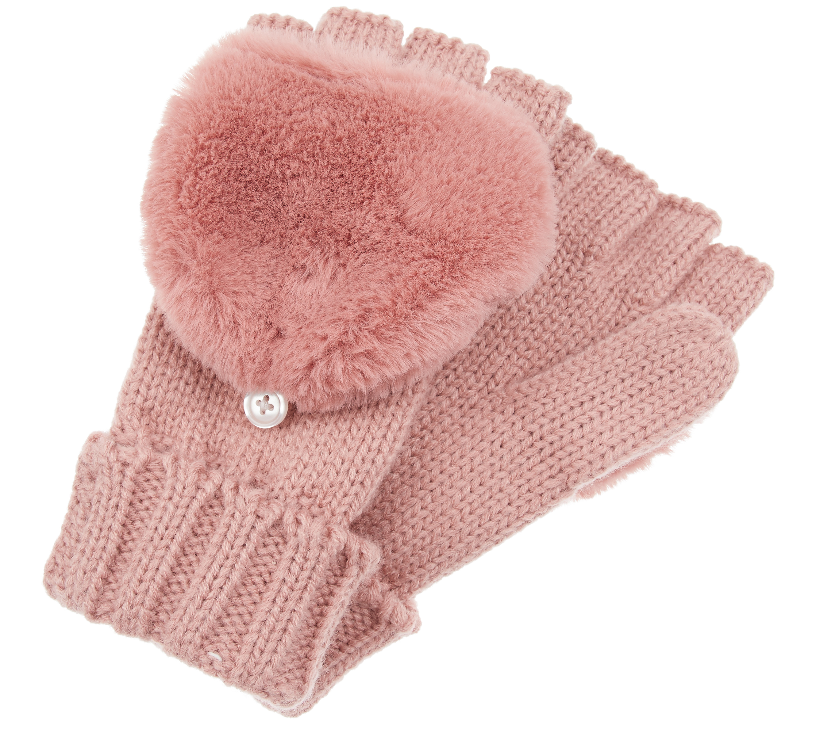 Accessorize Faux Fur Capped Gloves