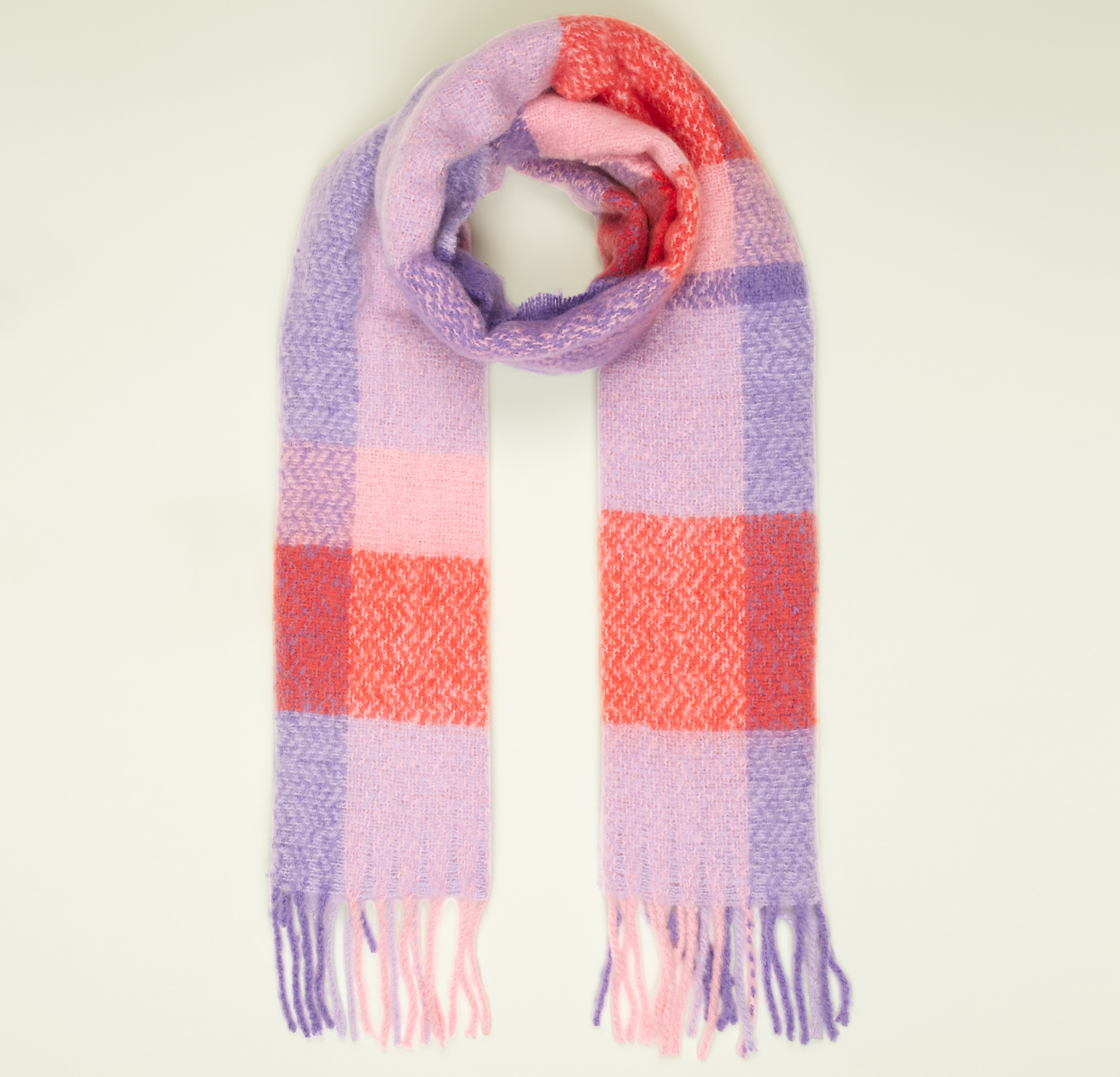 New Look Lilac and Pink Check Wide Length Tassel Trim Scarf