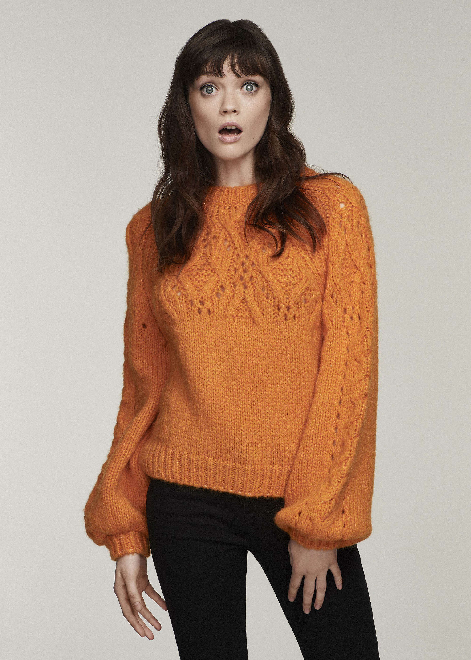model wearing H! by Henry Holland Orange Chunky Cable Knit Jumper