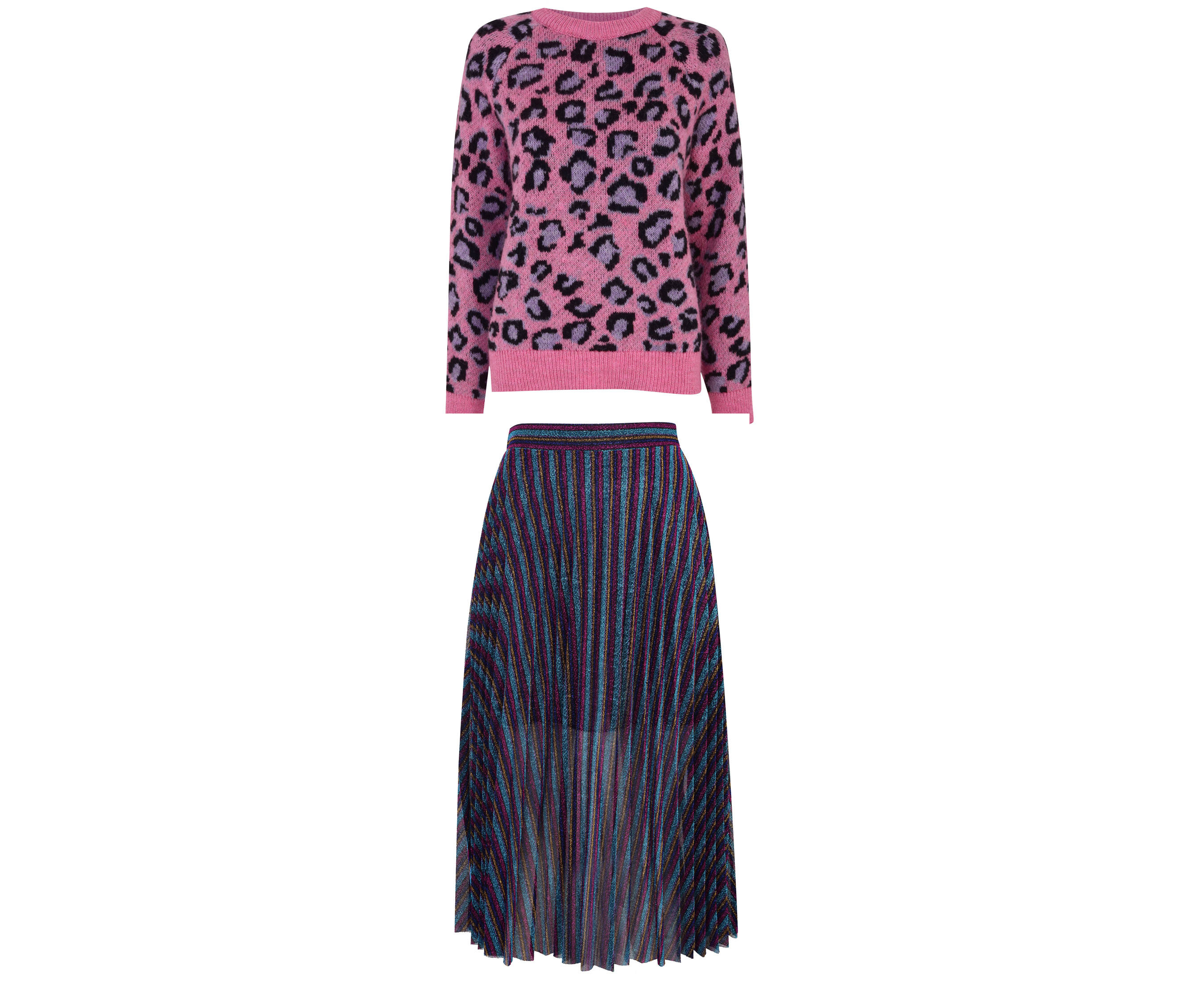 H! by Henry Holland Pink Animal Print Jumper and Purple Metallic Stripe Pleated Midi Skirt