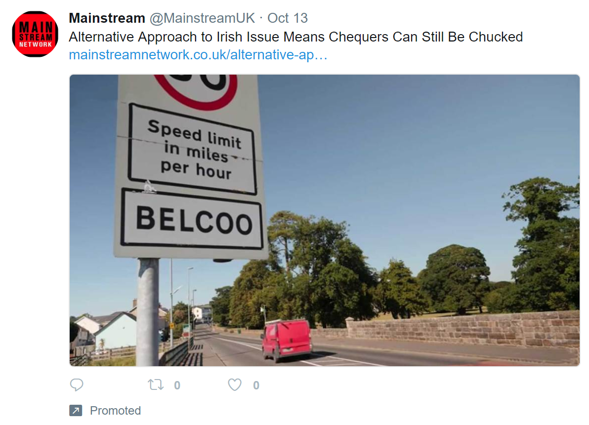 A promoted tweet about the Irish backstop and chucking Chequers