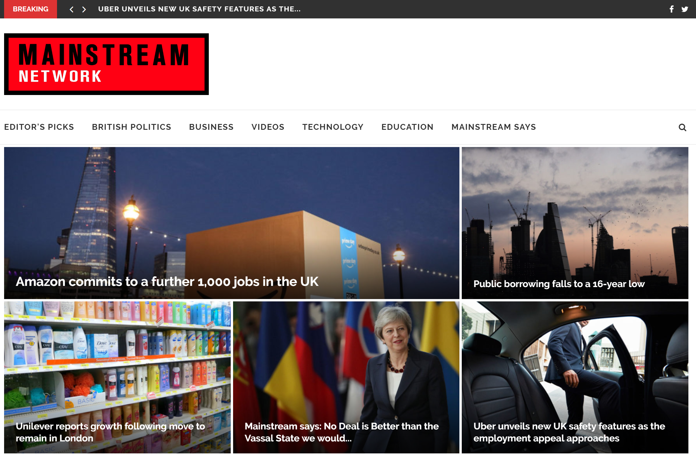 The home page of the Mainstream Network website, featuring stories about Brexit, the UK and Theresa May