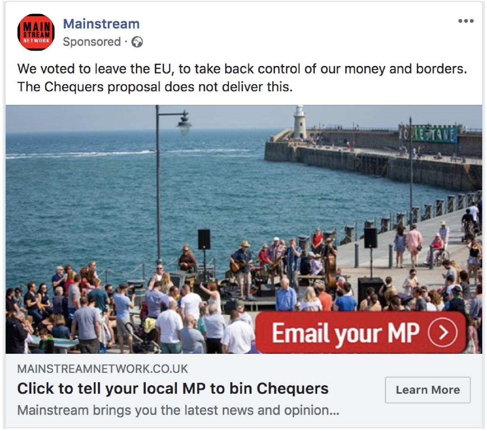 A screenshot of a Facebook advert from Mainstream showing the coast at Folkestone, dismissing the Chequers Brexit deal