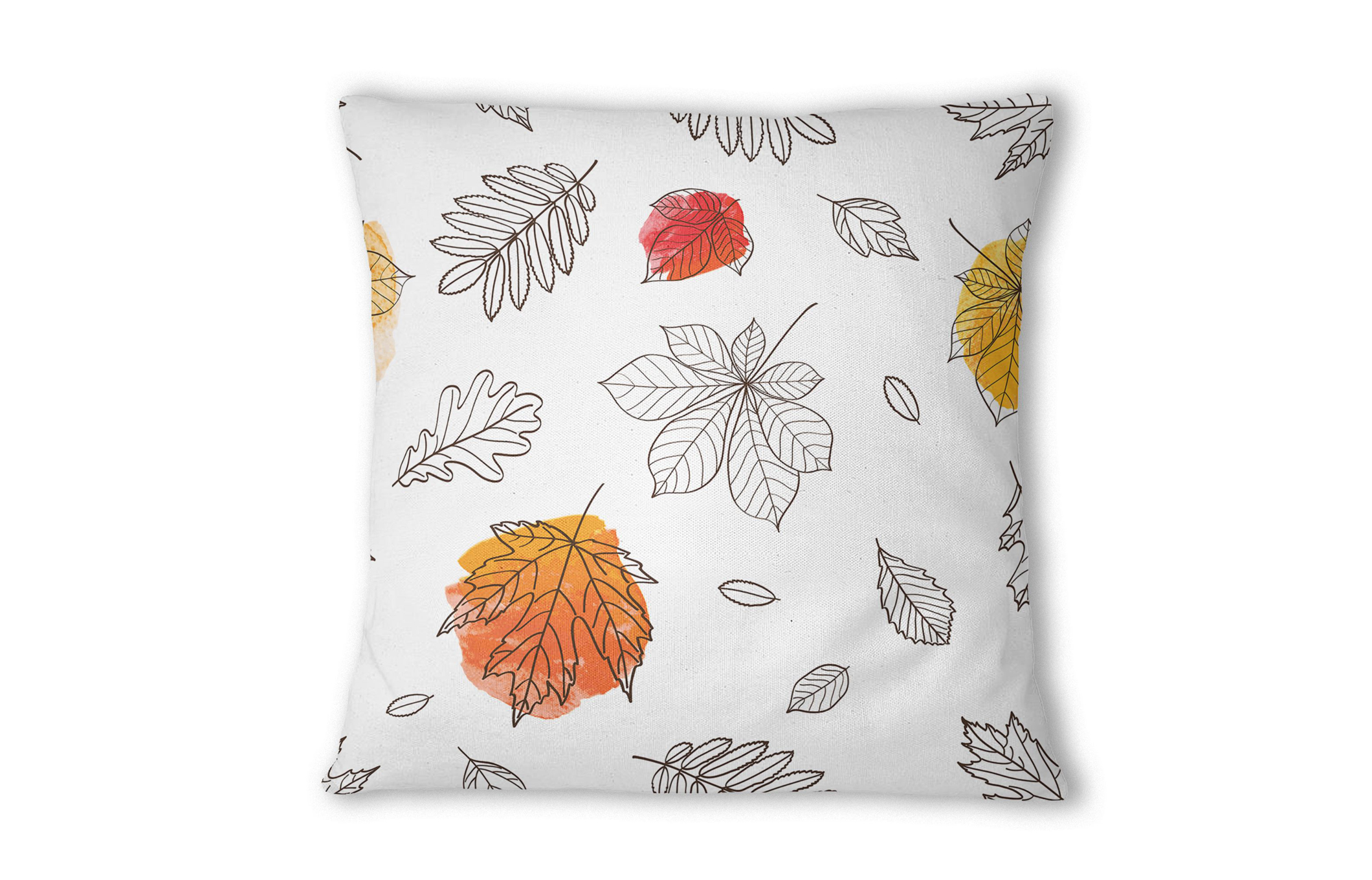 Scatter cushion with leaf print