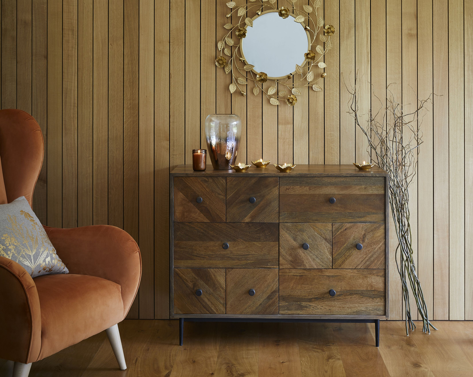 Multi drawer chest with mirror and armchair