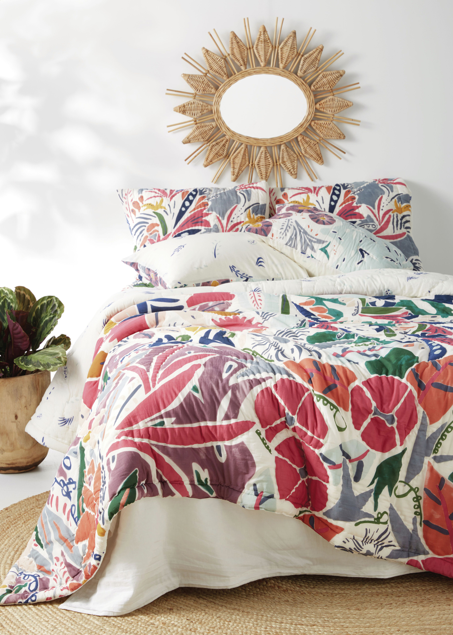 Colourful quilted bedspread