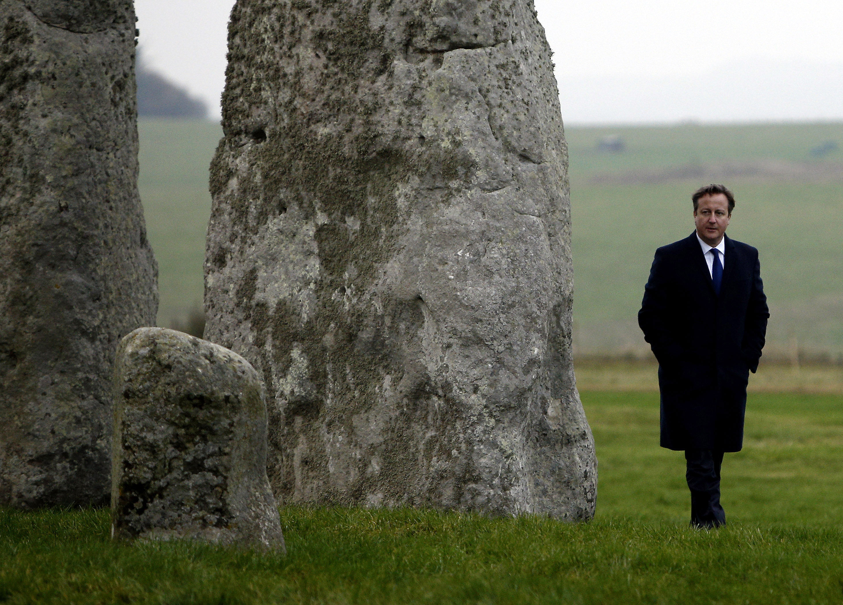 Then prime minister David Cameron visiting Stonehenge in 2014