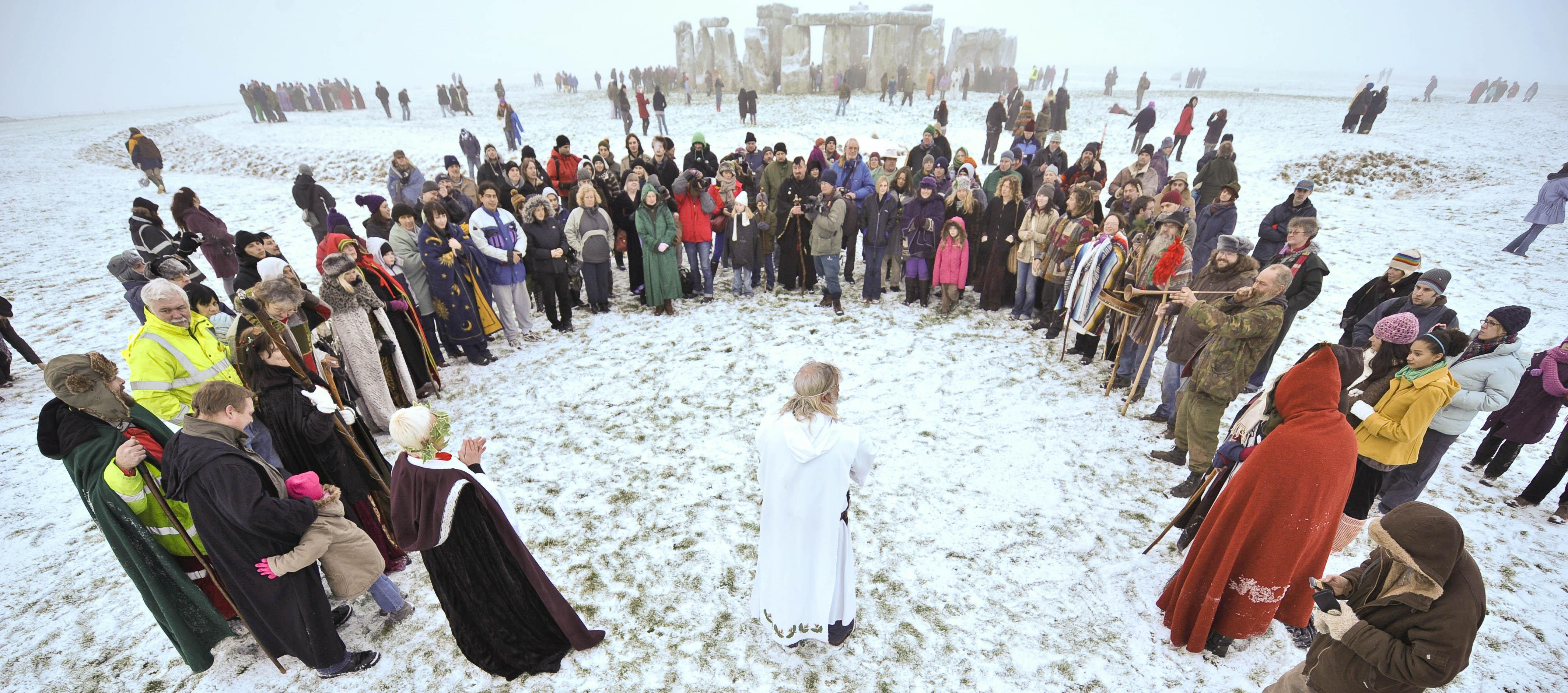 Crowds gather to celebrate the Winter Solstice in 2009