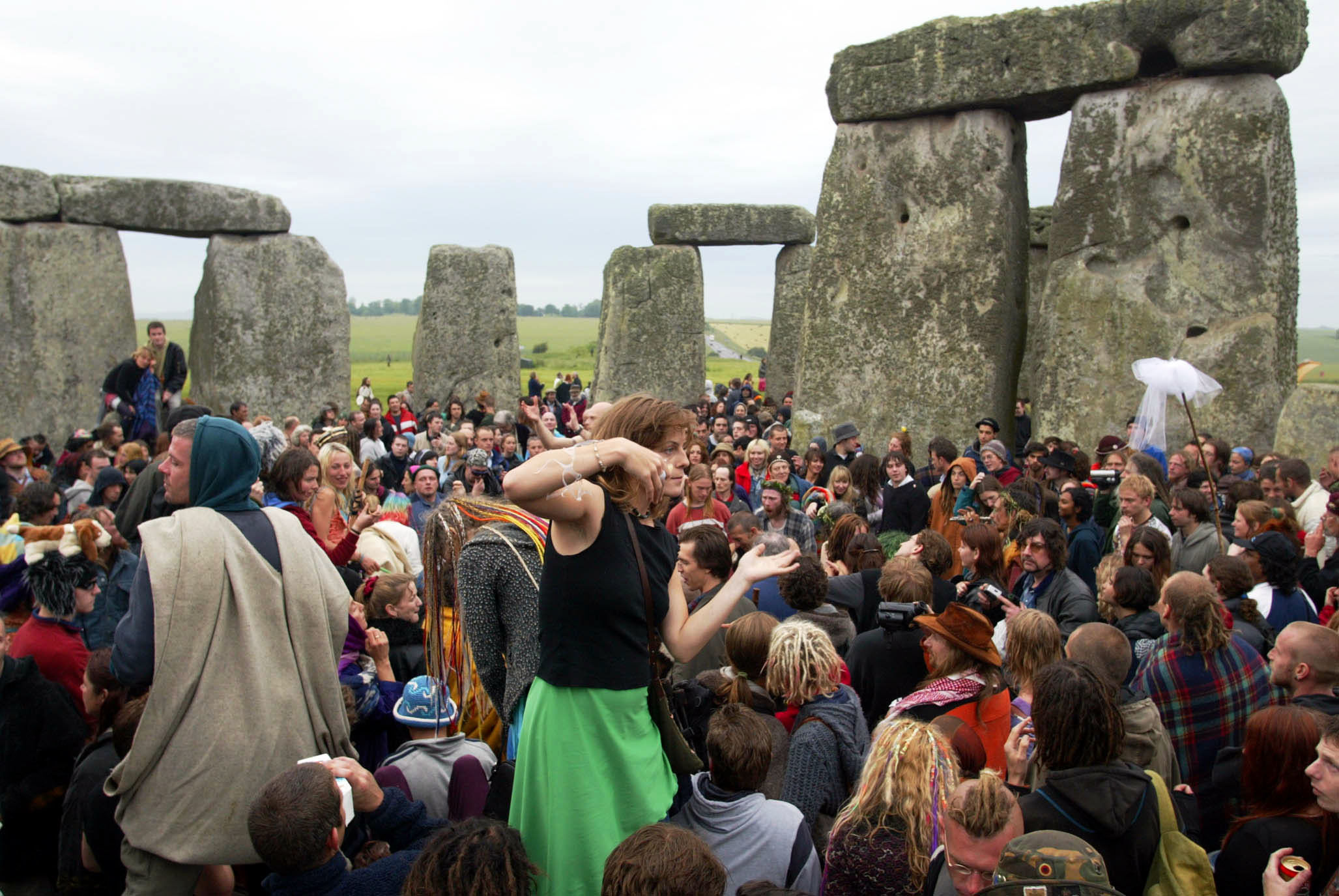 People celebrating the Summer Solstice in 2002