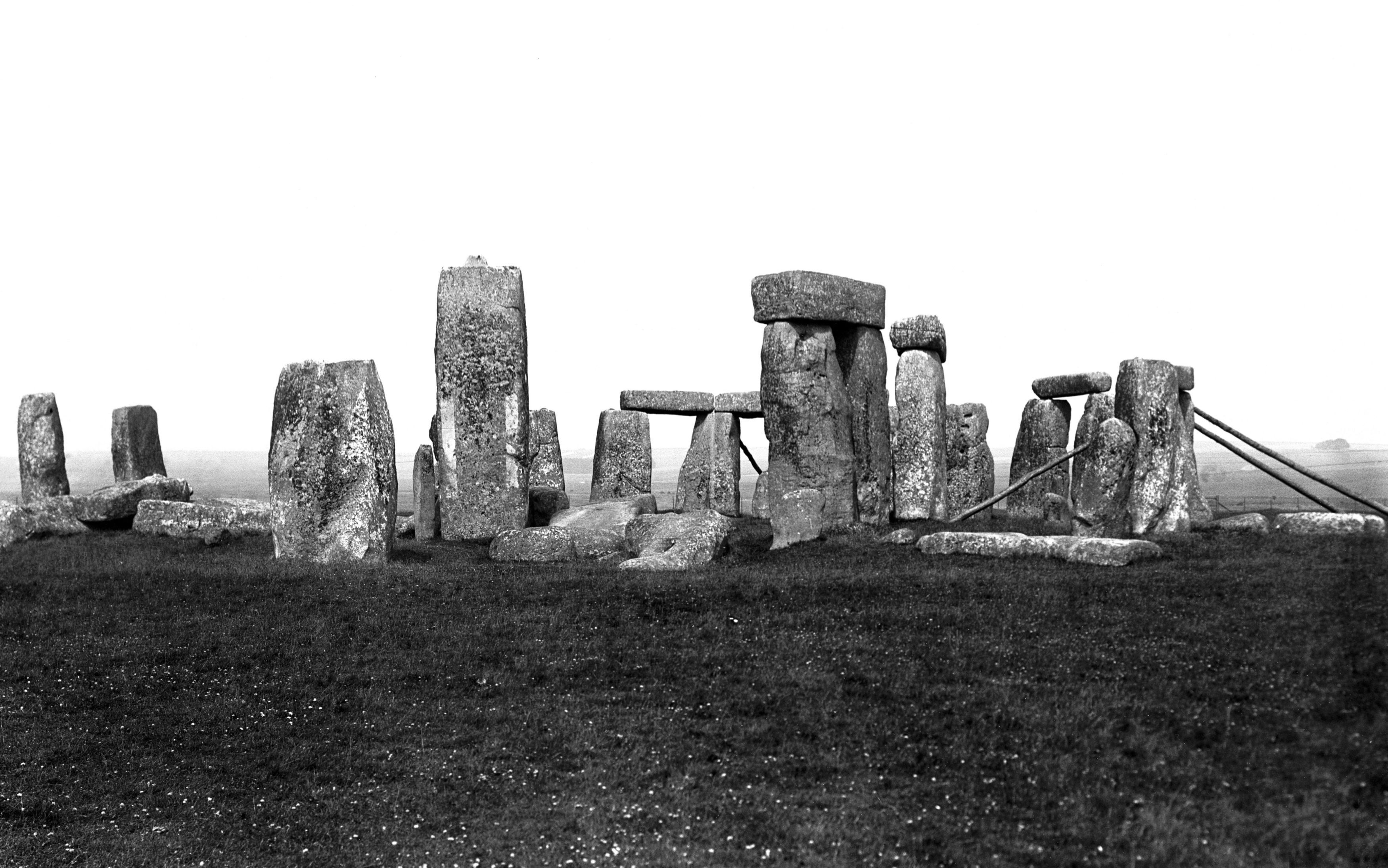 Stonehenge whilst its sarsen stones were buttressed with timber to prevent their collapse in 1913