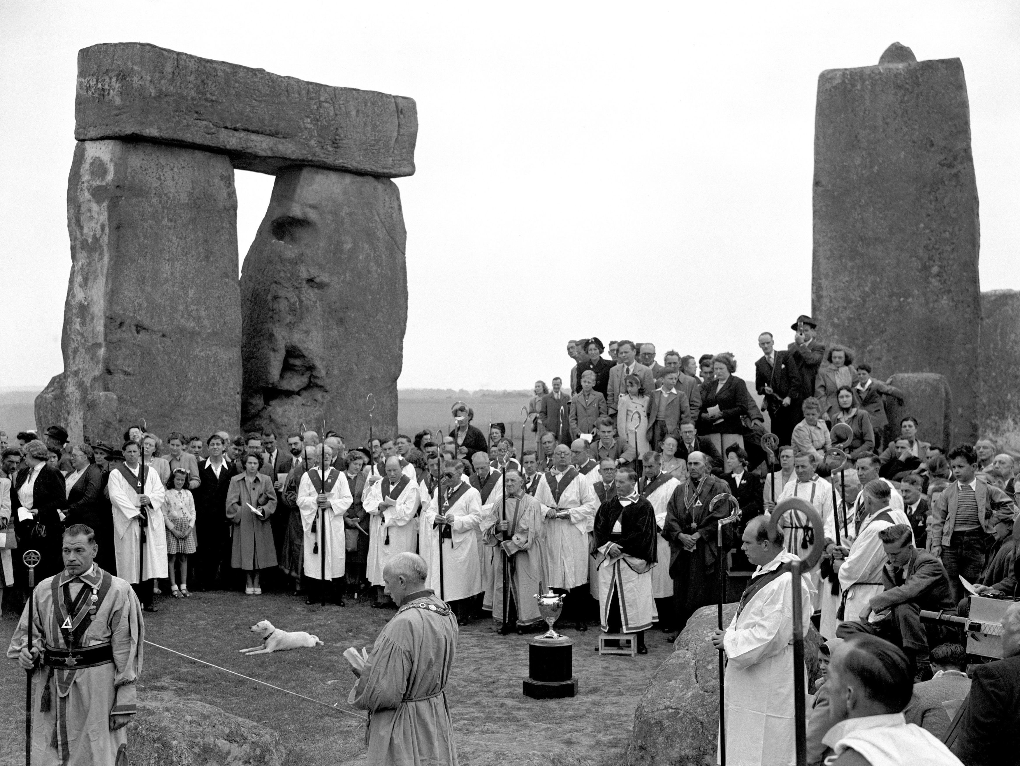 Members of the Haemus Lodge (Brighton and Worthing District of Sussex) during their mid-summer ceremony at Stonehenge in 1949
