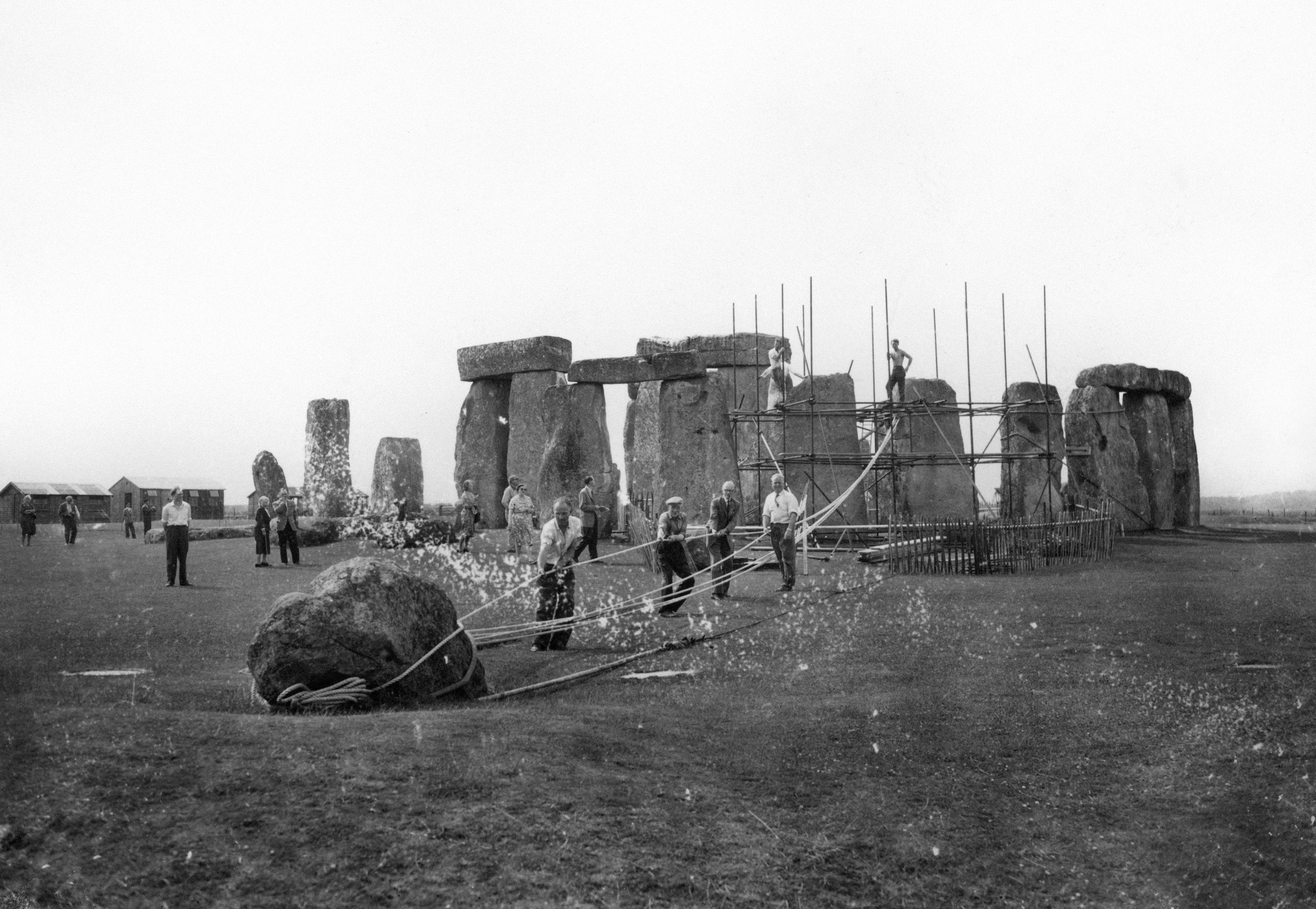 Photo dated 30/06/1959 of what is known to the Ministry of Works as No. 91 Station Stone undergoing preparations to be straightened at Stonehenge