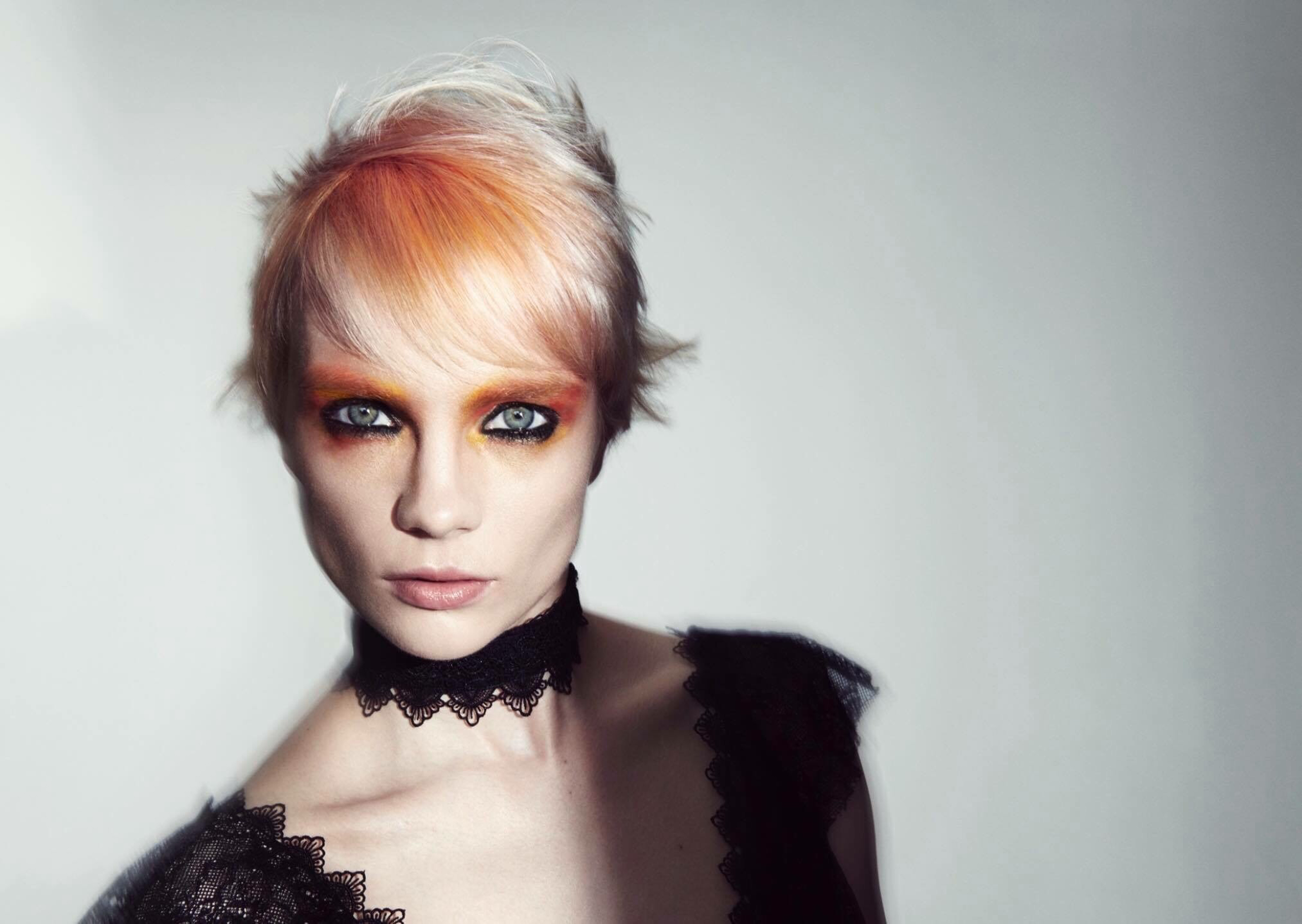 model with pastel hair colour
