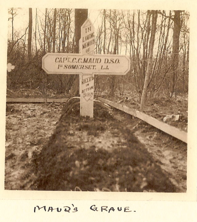 The grave of Capt Charles Carus Maud, as photographed by his comrade Capt Bennett (R.H.E. Bennett/PA)