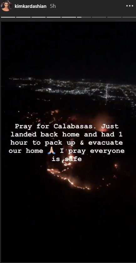 "Kim Kardashian posted on Instagram: ""Pray for Calabasas."" (@kimkardashian/Instagram)"