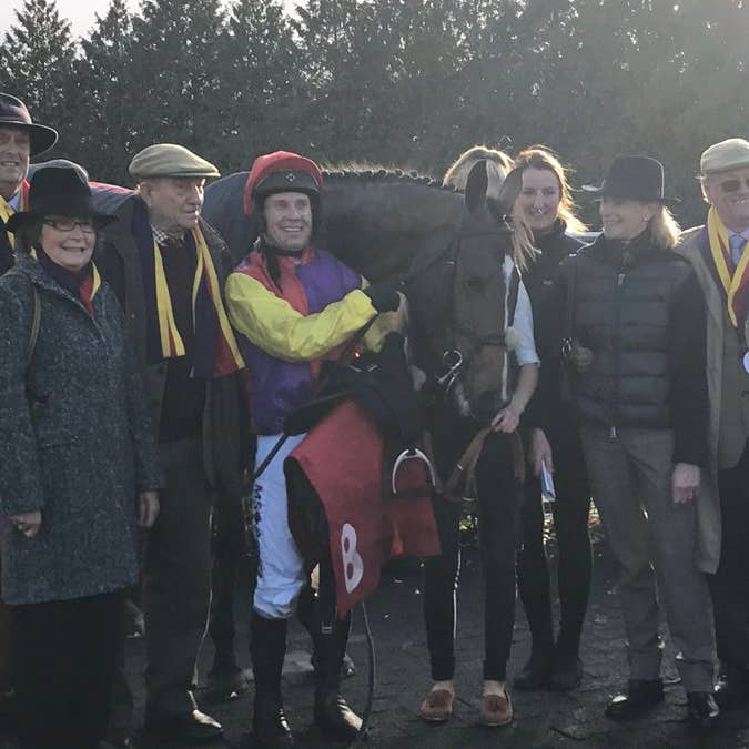 Owners Garth and Anne Broom were all smiles after a landmark success at Kempton