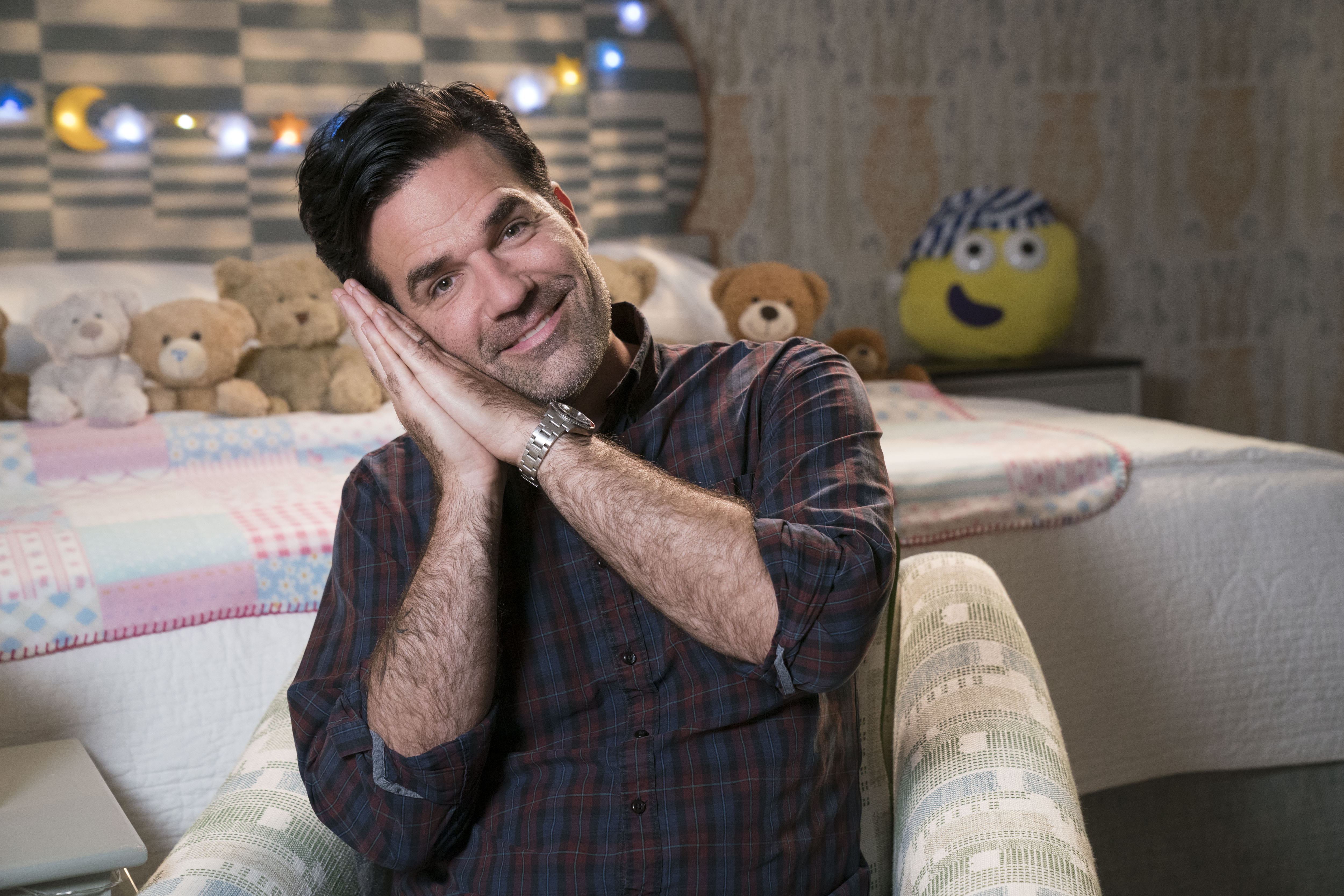 Rob Delaney signing a CBeebies Bedtime Story