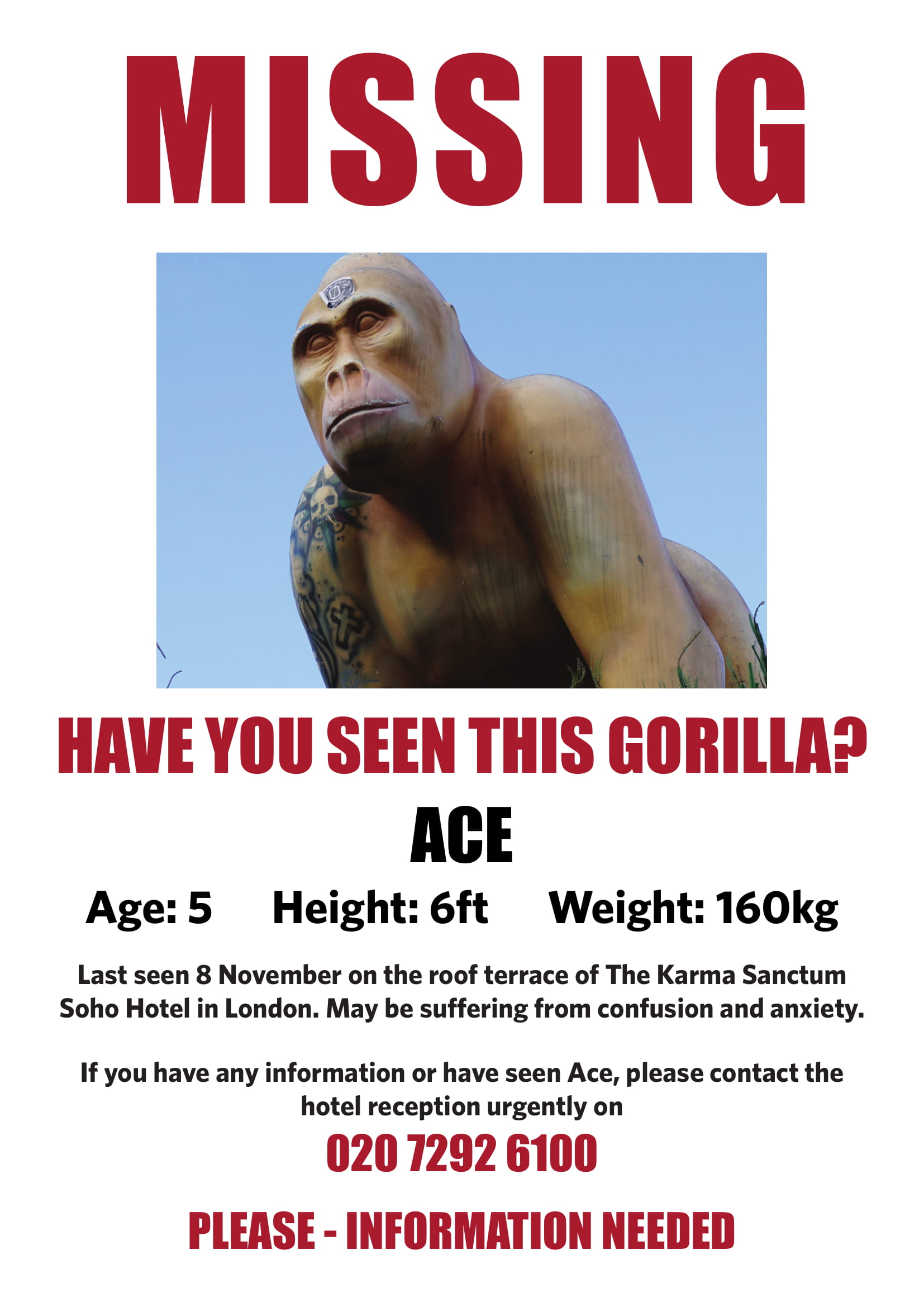 A missing posted for the gorilla statue