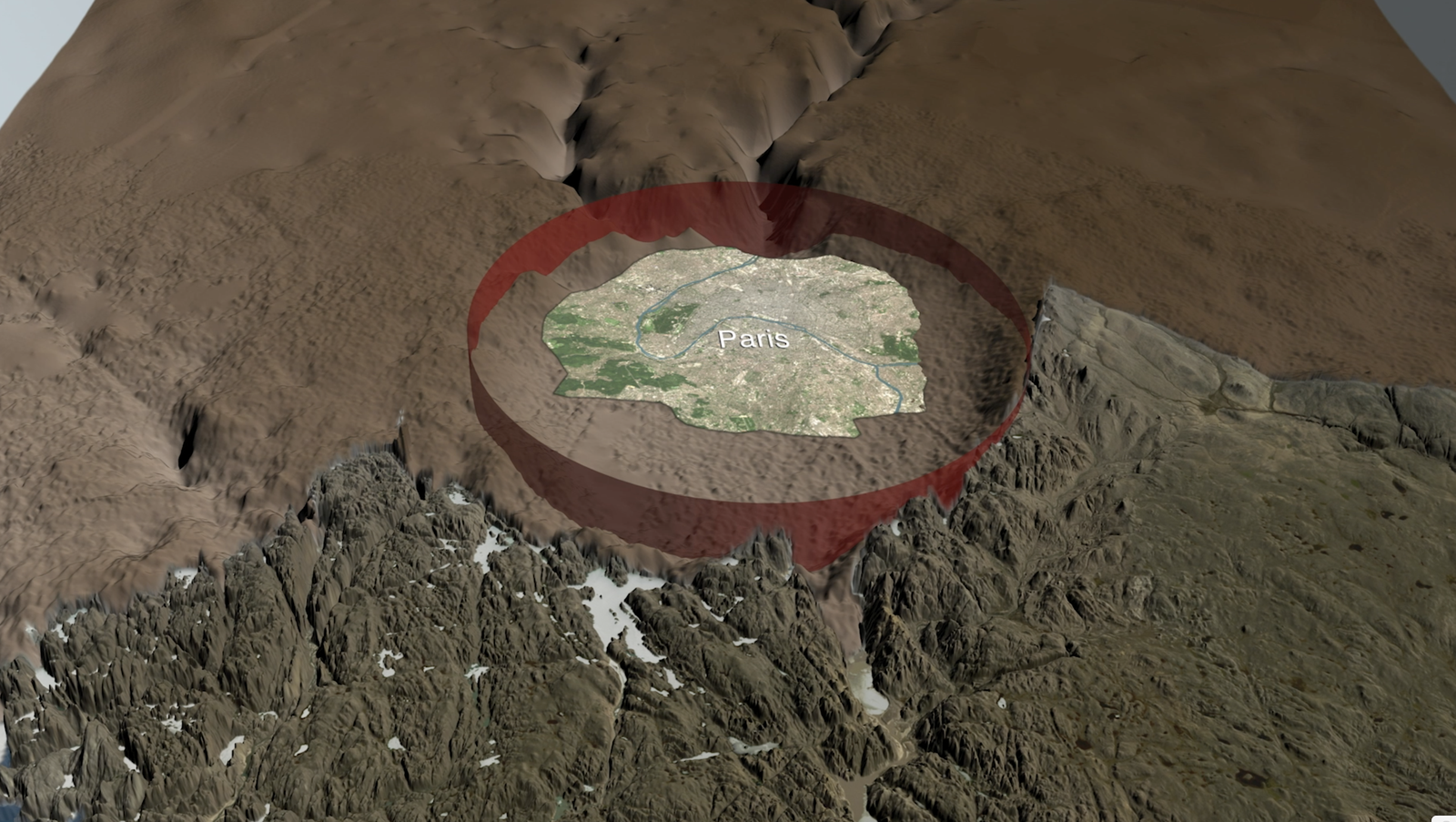 Artists impression of Hiawatha meteorite crater encircling Paris. Supplied by Cardiff University
