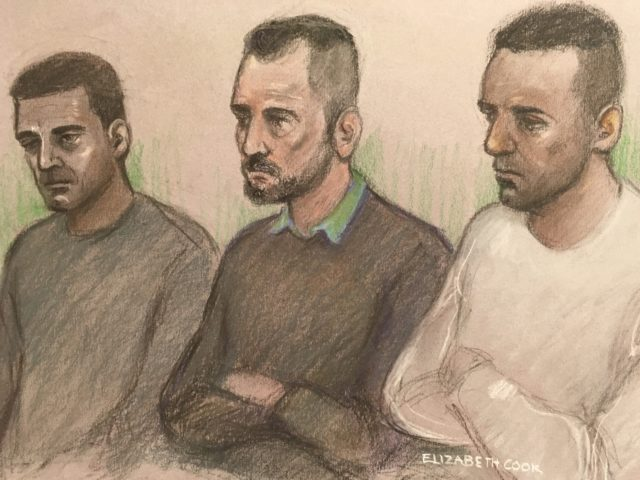 Hawkar Hussan, Arkan Ali and Aram Kurd in the dock at Leicester Crown Court