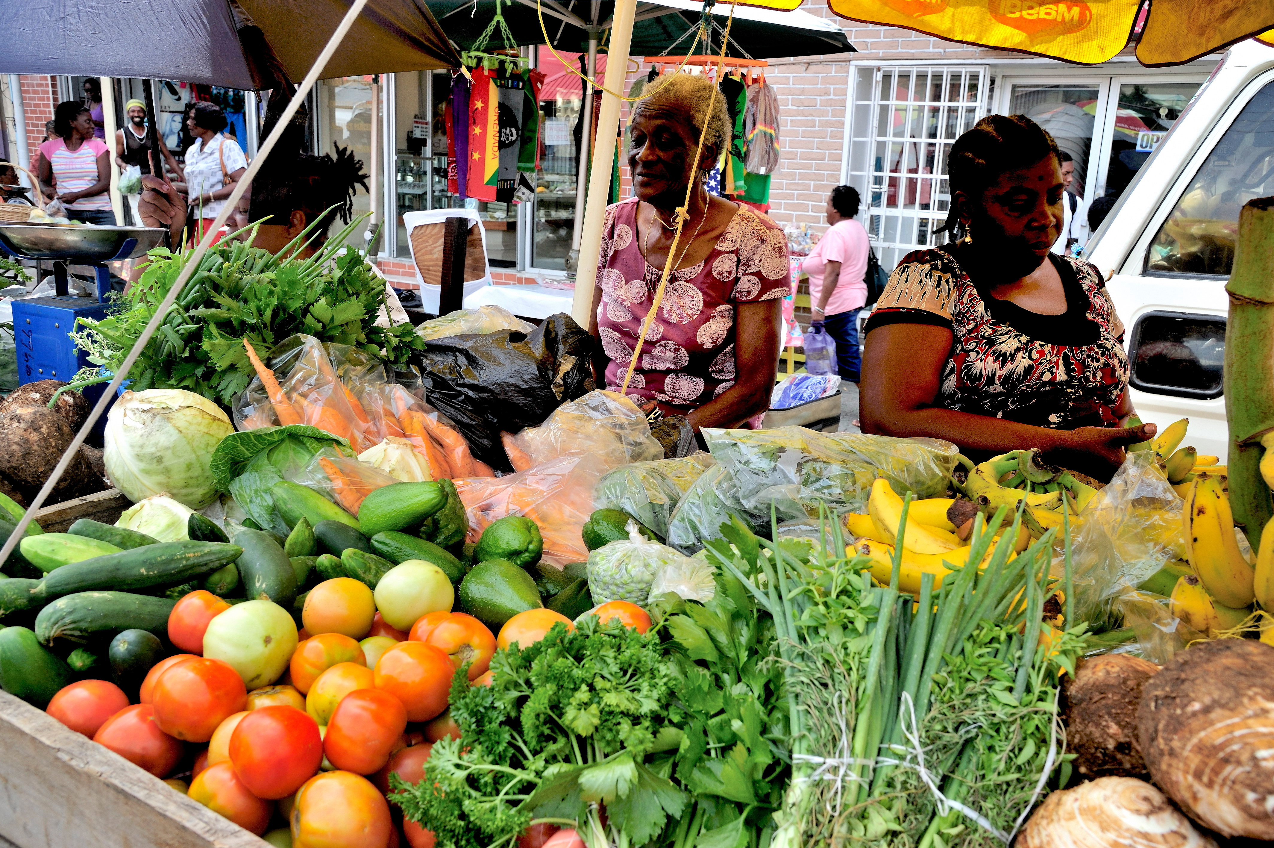 No-one goes hungry. Women vendors at St George's market (Grenada Tourism Authority/PA)