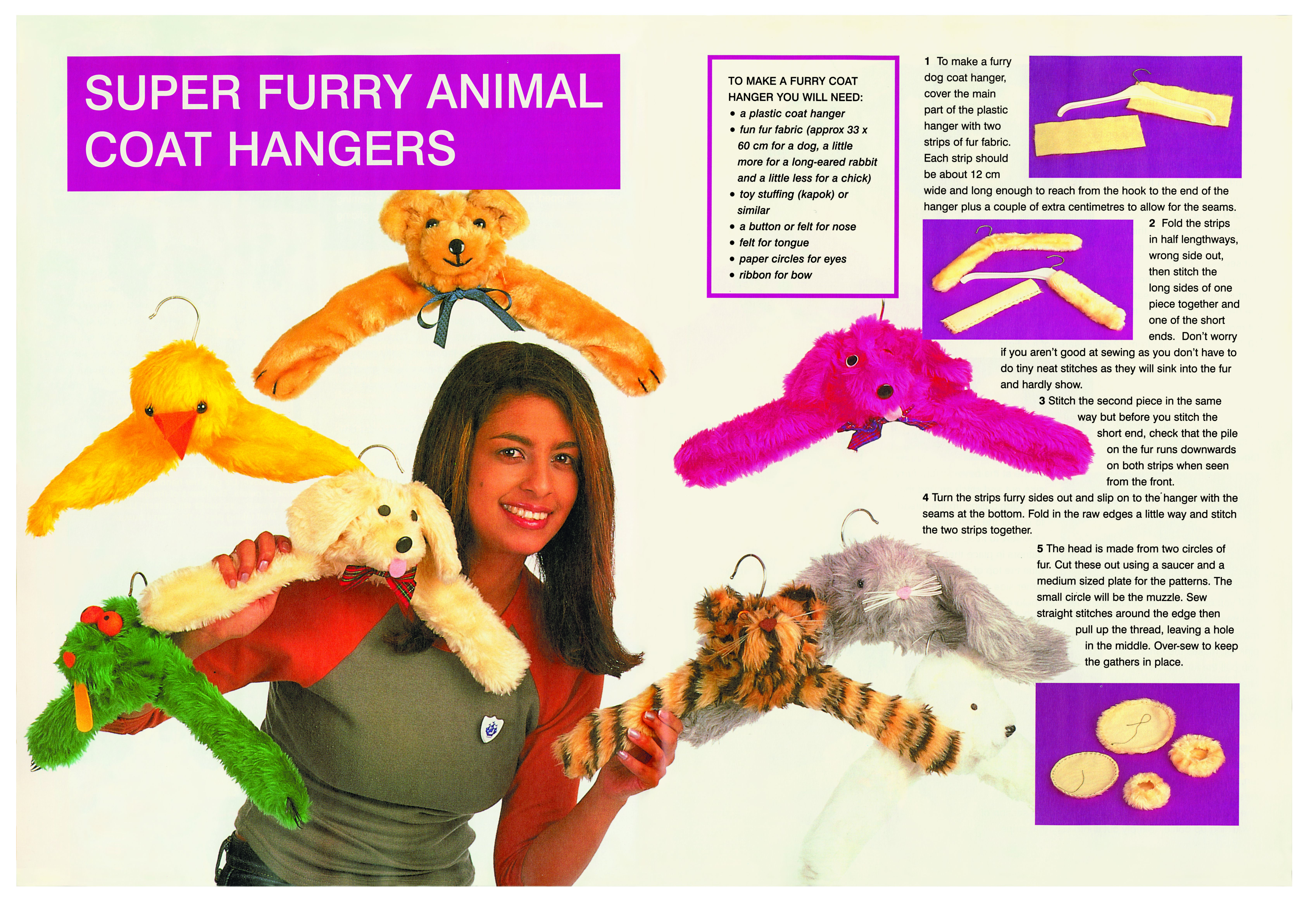 A double page spread on super furry animal coat hangers