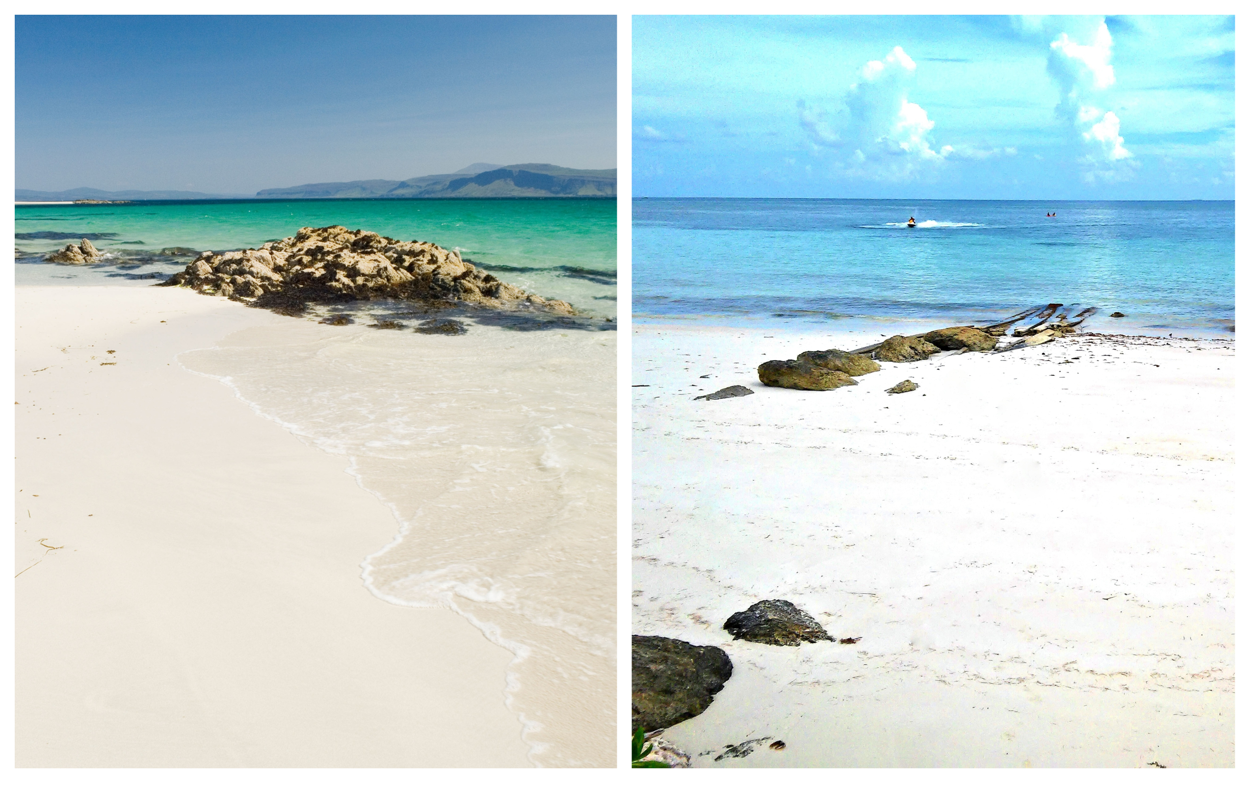 Left - The North coast of Iona, Scotland; Right - Gold Rock Beach, The Bahamas (Alamy/Thinkstock/PA)