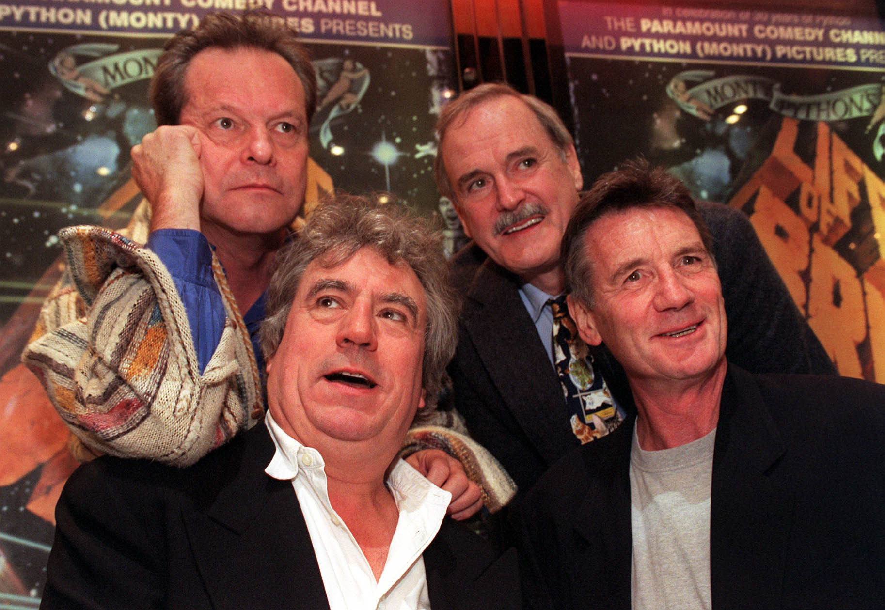 Monty Python stars (L-R) Terry Gilliam, Terry Jones, John Cleese and Michael Palin celebrate their 30th anniversary. (Justin Williams/PA)