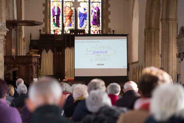 "A ""word cloud"" displays things that the congregation at Aylsham Parish Church in Norfolk is praying for, after they voted on a smartphone app. (Mentimeter/ PA)"